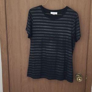 Calvin Klein Embellished Black Tee,L